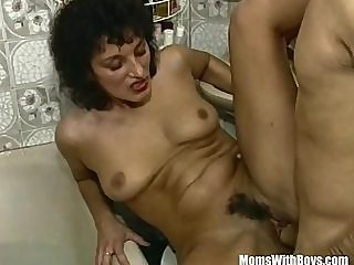 Horny Brunette Mom In A..
