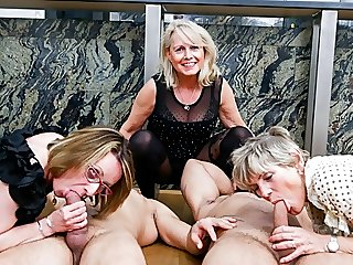 First Ever Granny Orgy! Cock..
