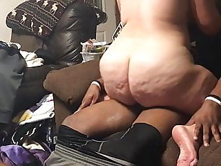 White wife on couch riding..
