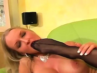 Gorgeous chick plays with..