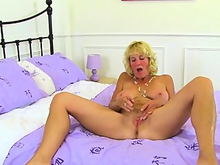 Mature blonde Molly gets..
