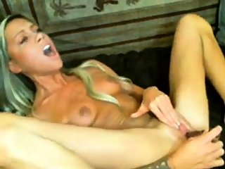 sexy blonde dildo play cum..