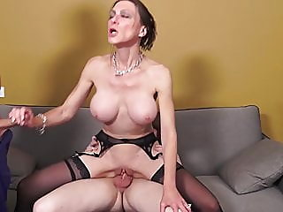 Mature MILF gets two cocks..