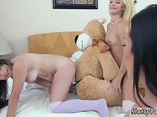 Group anal toys and brunette..