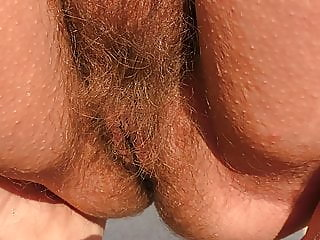 Hairy mature on the beach..