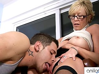 Hot granny seduces student